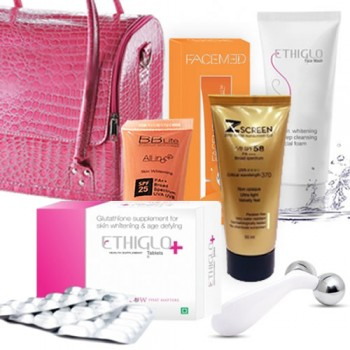 Complete Ethiglo Plus Skin Lightening Treatment Kit.